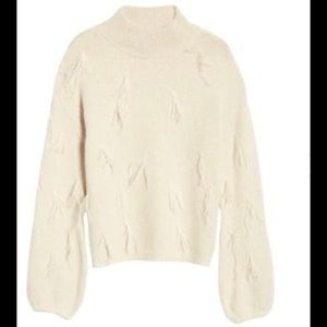 Rachel Parcell Feather Trim Turtleneck
